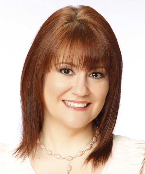 Medium Straight Casual Hairstyle with Layered Bangs - Medium Red Hair Color - side view