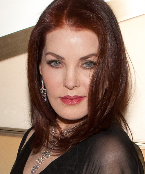 Priscilla Presley Medium Straight Hairstyle - Medium Red - side view