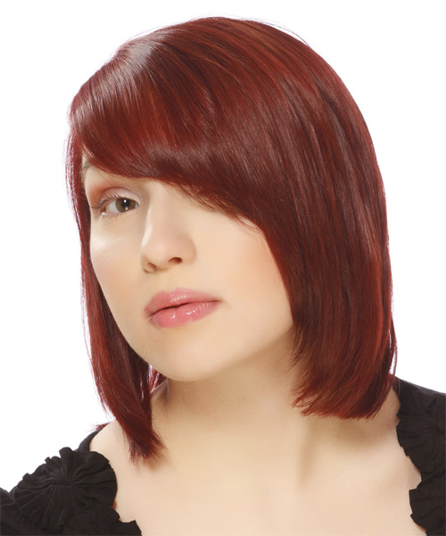Medium Straight Formal Bob with Side Swept Bangs - Medium Red - side view