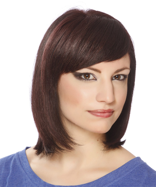 Medium Straight Formal Bob with Side Swept Bangs - Medium Brunette (Plum) - side view
