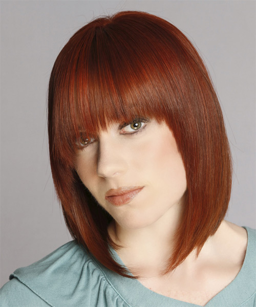 Medium Straight Formal  with Asymmetrical Bangs (Ginger) - side view