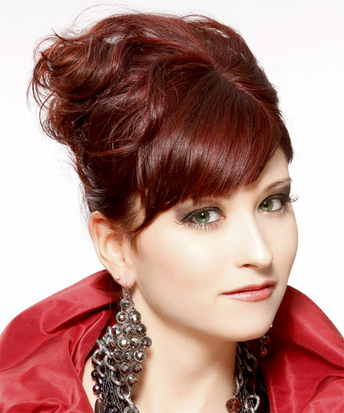 Curly Formal Updo Hairstyle with Side Swept Bangs - Dark Red (Burgundy) Hair Color - side view