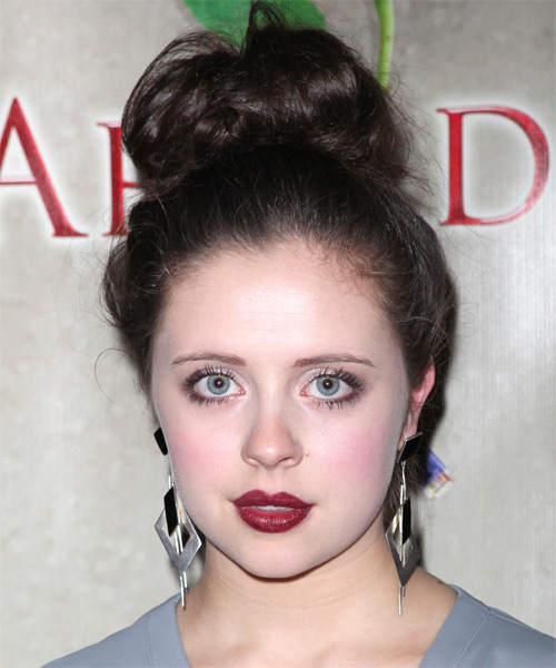 Bel Powley Casual Curly Updo Hairstyle - Medium Brunette (Mocha) - side view 1