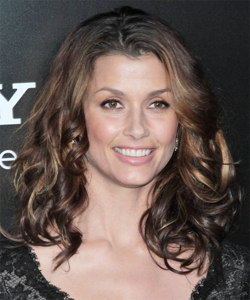 Bridget Moynahan Long Wavy Casual Hairstyle - Dark Brunette Hair Color - side view