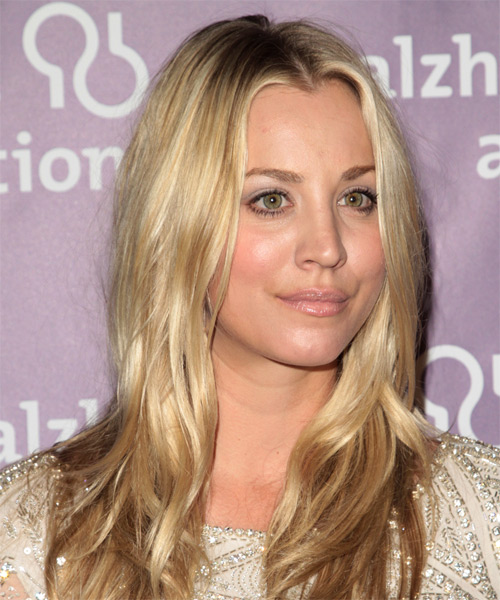 Kaley Cuoco Long Wavy Hairstyle - Medium Blonde (Golden) - side view
