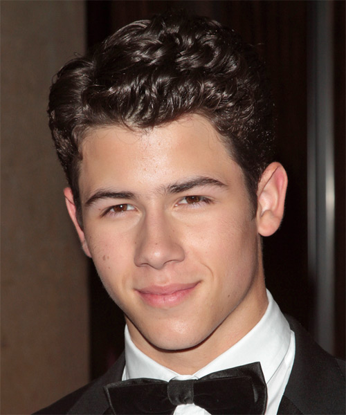 Nick Jonas Short Wavy Formal Hairstyle - Dark Brunette Hair Color - side view