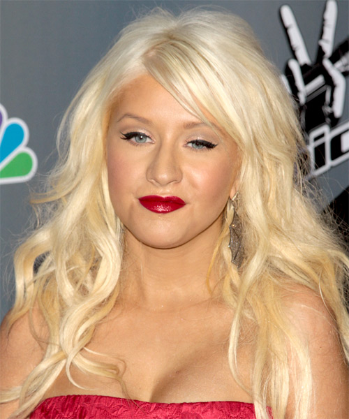 Christina Aguilera Long Wavy Hairstyle - Light Blonde (Golden) - side view 1
