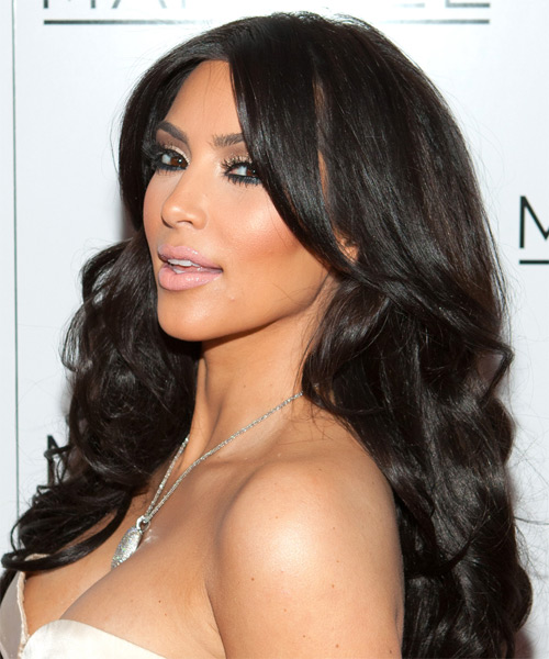 Kim Kardashian Long Wavy Formal Hairstyle - Dark Brunette Hair Color - side view