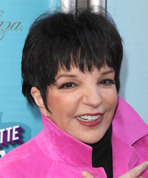 Liza Minnelli Short Straight Casual  with Layered Bangs - Black - side view