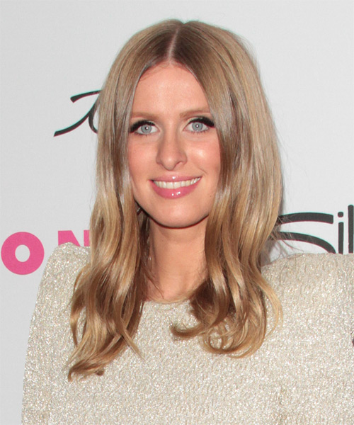 Nicky Hilton Long Straight Hairstyle - Light Brunette (Caramel) - side view