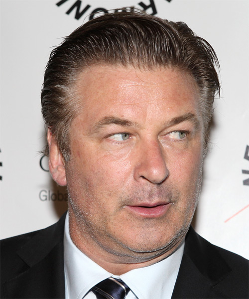 Alec Baldwin Short Straight Hairstyle - Dark Grey - side view