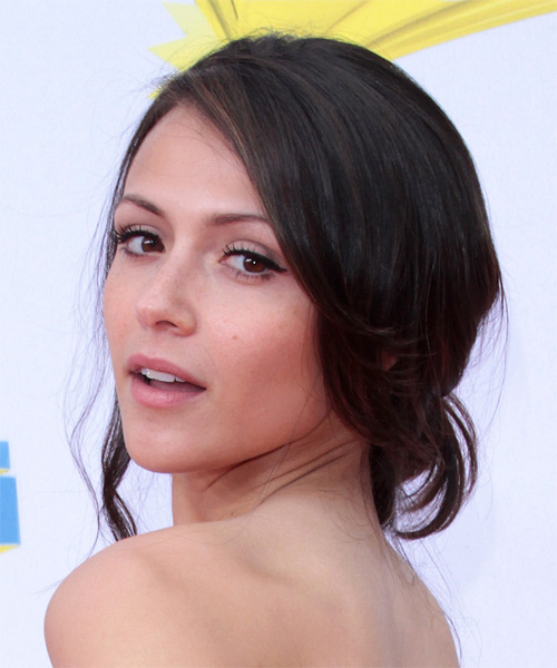 Italia Ricci Curly Formal Updo Hairstyle - Dark Brunette Hair Color - side view