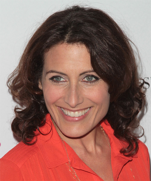 Lisa Edelstein Medium Wavy Hairstyle - Dark Brunette - side view