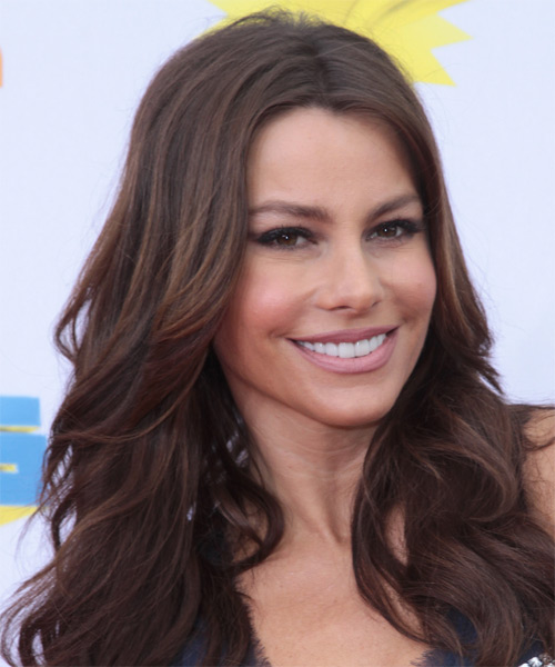 Sofia Vergara Long Wavy Hairstyle - Medium Brunette (Chocolate) - side view