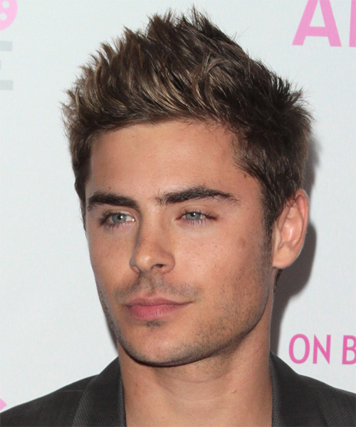 Zac Efron Short Straight Casual Hairstyle - Light Brunette Hair Color - side view