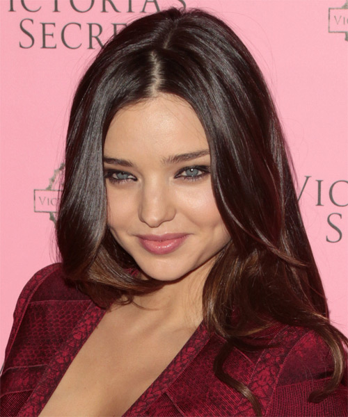 Miranda Kerr Long Wavy Formal Hairstyle - Dark Brunette (Chocolate) Hair Color - side view