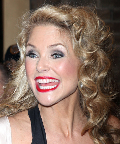Christie Brinkley Long Curly Formal Hairstyle - Medium Blonde Hair Color - side view