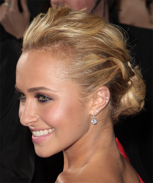 Hayden Panitierre Formal Curly Updo Hairstyle - Dark Blonde - side view 1
