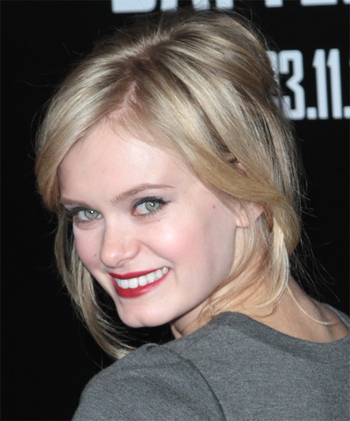 Sara Paxton Casual Straight Updo Hairstyle - Dark Blonde - side view 1