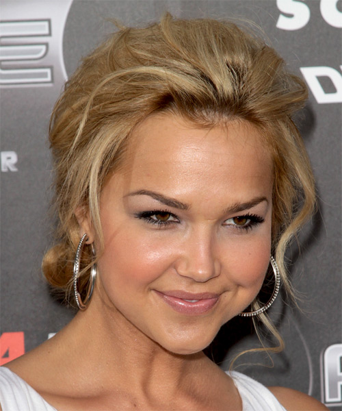 Arielle Kebbel Curly Casual Updo Hairstyle - Light Blonde Hair Color - side view