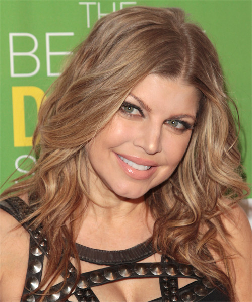 Fergie Long Curly Formal Hairstyle - Dark Blonde Hair Color - side view