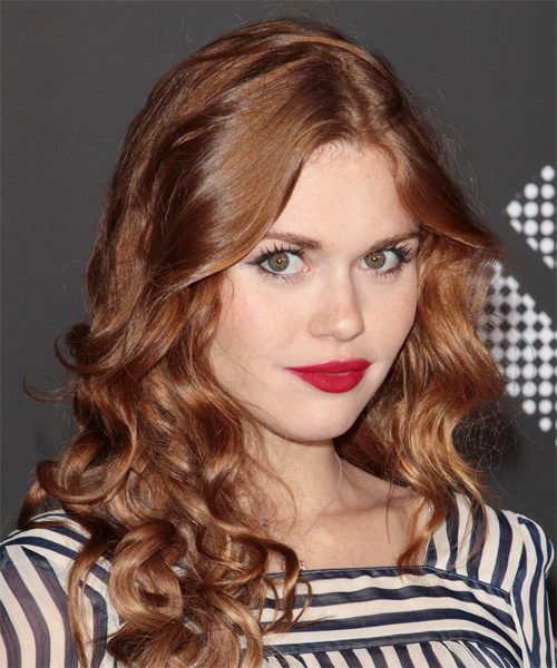 Holland Roden Long Curly Casual Hairstyle - Light Red (Auburn) Hair Color - side view