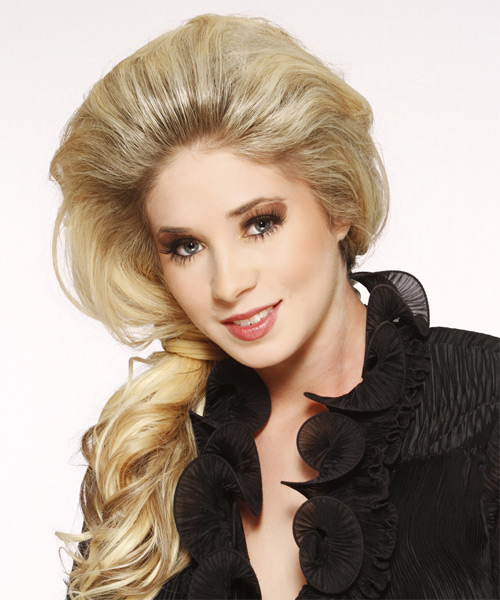 Half Up Long Curly Formal Half Up Hairstyle - Light Blonde (Ash) Hair Color - side view
