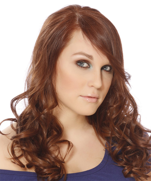 Long Wavy Casual Hairstyle with Side Swept Bangs - Light Brunette (Auburn) Hair Color - side view