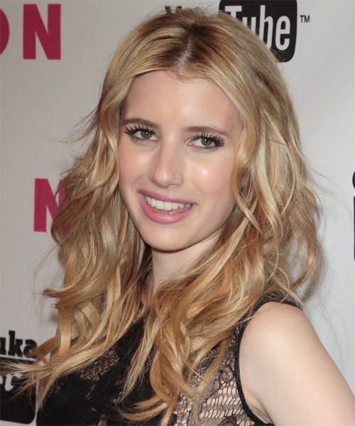 Emma Roberts Long Wavy Hairstyle - Medium Blonde (Champagne) - side view