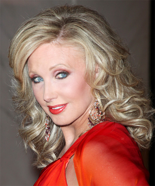 Morgan Fairchild - Formal Long Wavy Hairstyle - side view