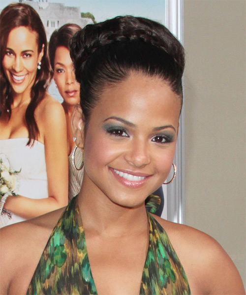 Christina Milian Formal Curly Updo Braided Hairstyle - Dark Brunette - side view
