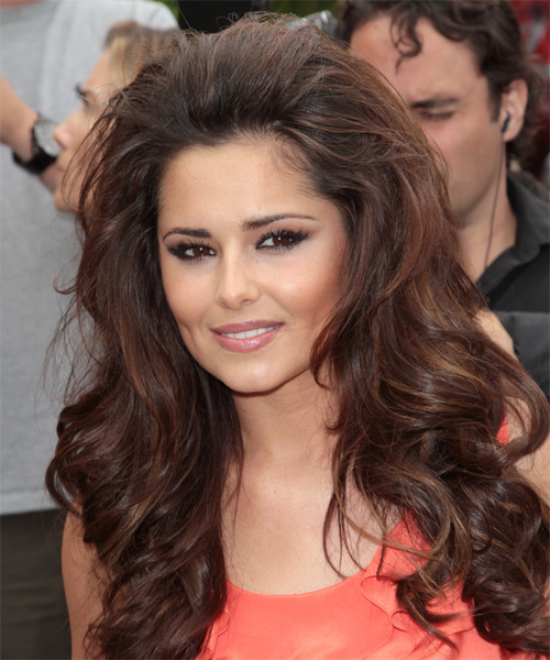 Cheryl Cole Long Wavy Hairstyle - Medium Brunette (Chocolate) - side view