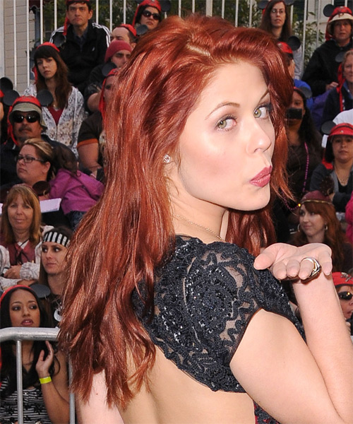 Anna Trebunskaya Long Wavy Casual Hairstyle - Medium Red (Bright) Hair Color - side view