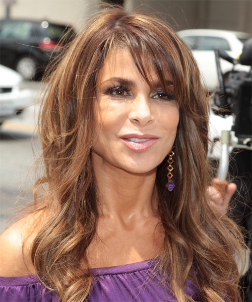 Paula Abdul Long Wavy Casual Hairstyle with Side Swept Bangs - Medium Brunette Hair Color - side view
