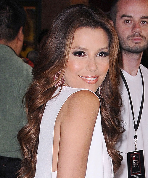 Eva Longoria Parker Long Wavy Hairstyle - Dark Brunette - side view 1
