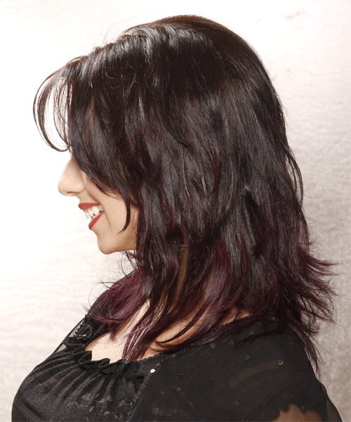 Medium Straight Casual  with Side Swept Bangs - Dark Brunette - side view
