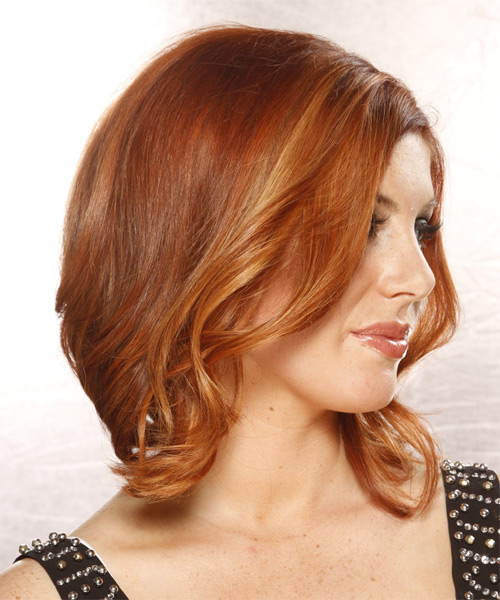 Medium Wavy Formal Hairstyle - Medium Red (Copper) - side view 1