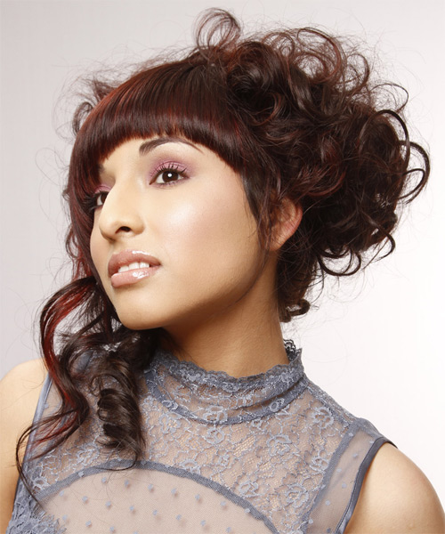 Updo Long Curly Formal  with Asymmetrical Bangs - Dark Brunette (Auburn) - side view