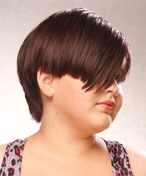 Short Straight Casual Hairstyle with Side Swept Bangs (Chocolate) - side view
