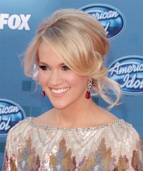 Carrie Underwood Curly Formal Updo Hairstyle with Side Swept Bangs - Light Blonde (Champagne) Hair Color - side view
