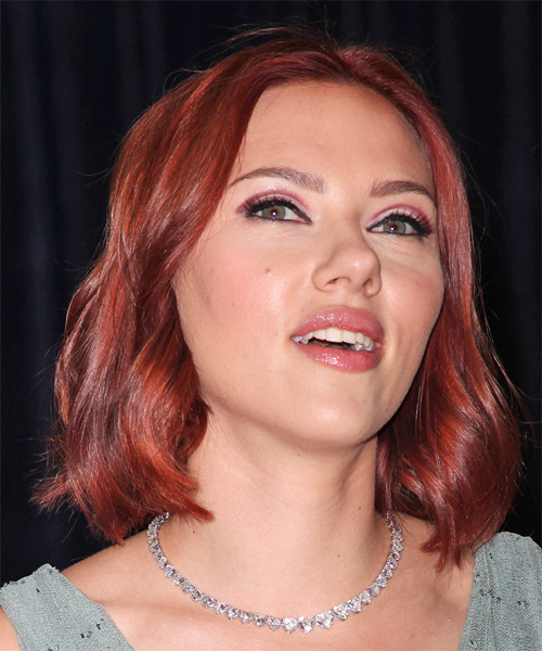 Scarlett Johansson Medium Wavy Bob Hairstyle - Medium Red - side view