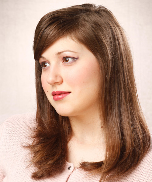 Long Straight Formal Hairstyle with Side Swept Bangs - Medium Brunette (Chestnut) Hair Color - side view