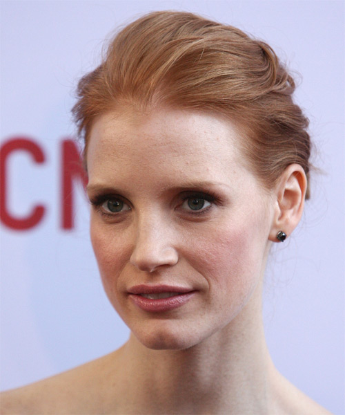 Jessica Chastain Formal Straight Updo Hairstyle - Medium Blonde (Strawberry) - side view