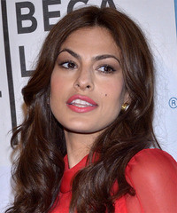 Eva Mendes Long Wavy Casual  - side view