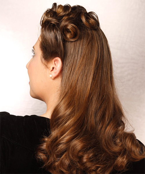 Half Up Long Curly Formal  - Medium Brunette (Chestnut) - side view