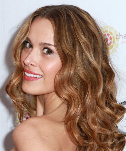Petra Nemcova Long Wavy Hairstyle - Light Brunette (Caramel) - side view