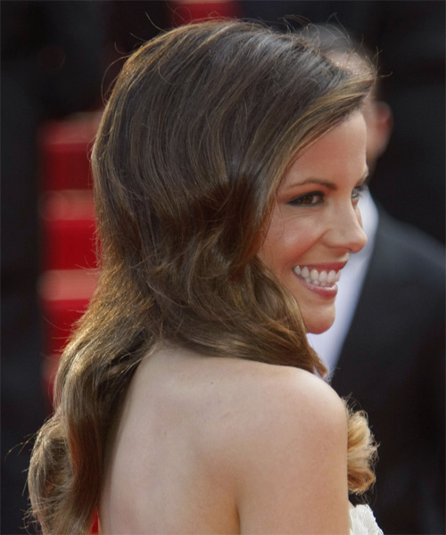 Kate Beckinsale Long Wavy Hairstyle - Medium Brunette - side view 1