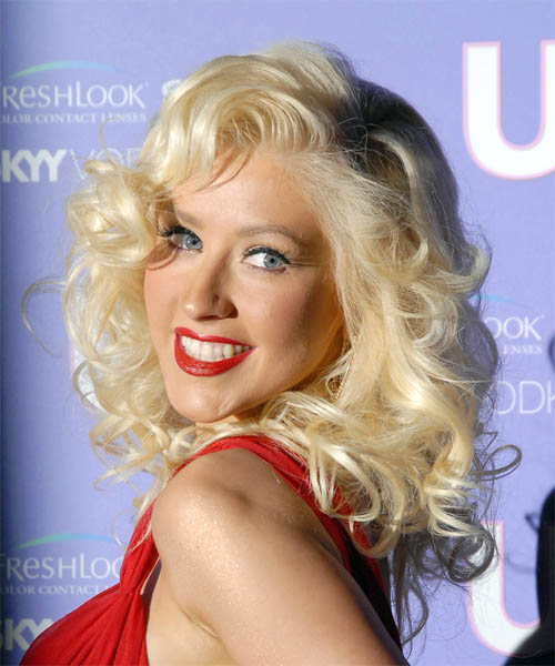Christina Aguilera Long Curly Hairstyle - side view 1