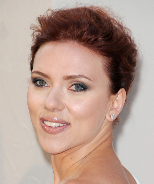 Scarlett Johansson Casual Curly Updo Hairstyle - Dark Red - side view 1