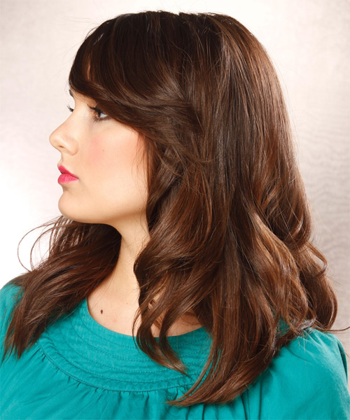 Long Wavy Casual Hairstyle - Dark Brunette (Chocolate) - side view 1